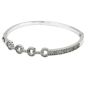Fashion silver circle inlaid small crystal bracele